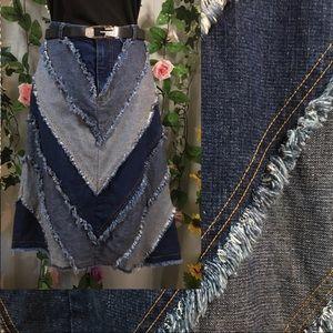 *Grab* denim multi layered raw edge skirt